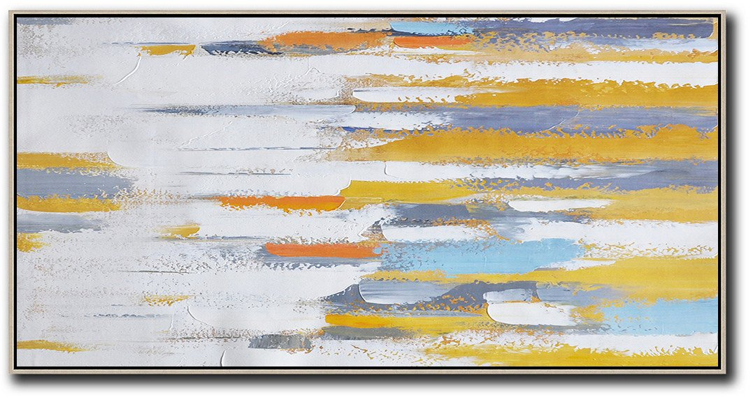 Acrylic Painting Large Wall Art,Horizontal Palette Knife Contemporary Art,Big Canvas Painting,White,Yellow,Orange,Blue.etc